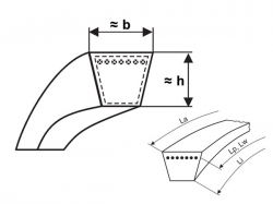 Klínový řemen 20x1180 Li - 20x1230 Lw L=L Profi Rubena