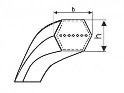 Klínový řemen oboustranný HBB 2500 Lw - BB 95