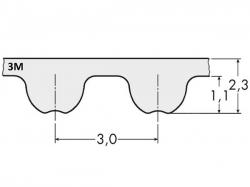 Řemen ozubený 3M 195 - 6 mm optibelt OMEGA
