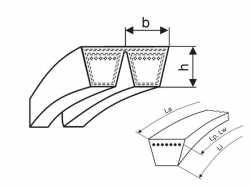 Klínový řemen násobný 2-HA 2276 La - 2-A 2240 Li (A 88) optibelt KB VB